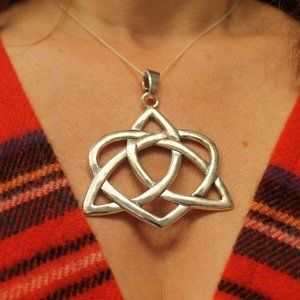 New Celtic Knot Heart Pendant Necklace Large